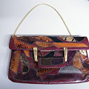 Mid-Century CAPRICE Snakeskin Patchwork Clutch Handbag With Gold Chain Strap..Excellent Condition!!