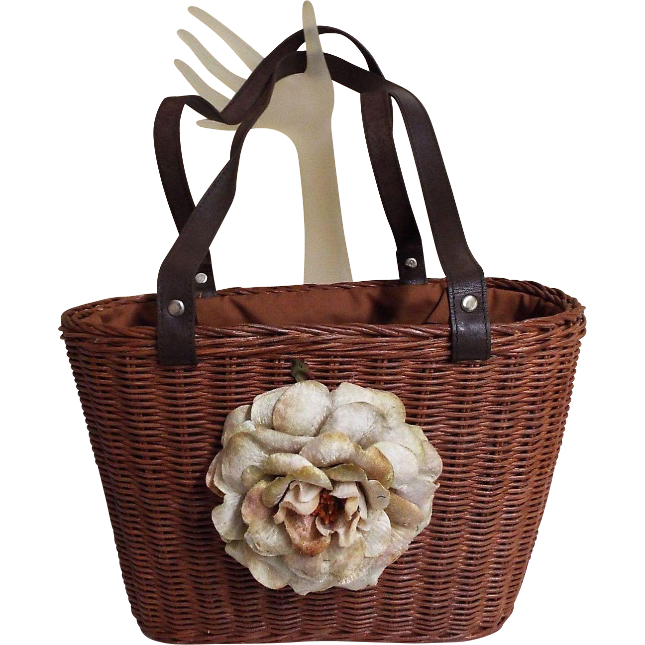 Brown Woven Straw Handbag..Large Velvet Flower..Double Drawstring Lining Of Black Grosgrain Ribbon & Black / White Pin Dot