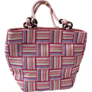 M & G Bertini..Italian Pink..White..Lavender Patchwork  Straw Tote Bag With Pink Braided Straps