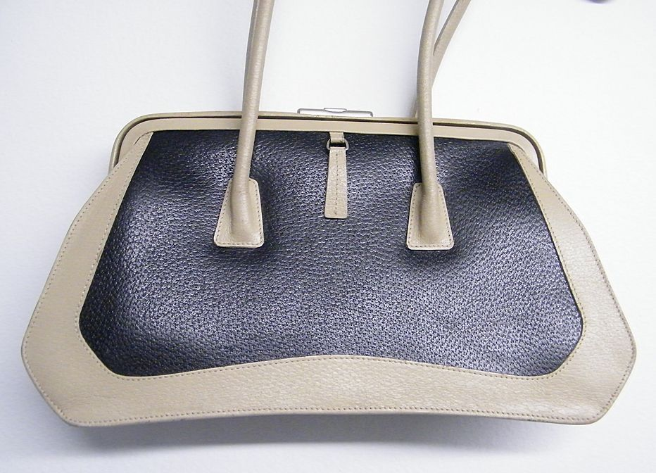 DESIGNER..Handbag By SUARAZ..Dark Navy Textured Leather With Beige Textured Leather Outline..Almost New
