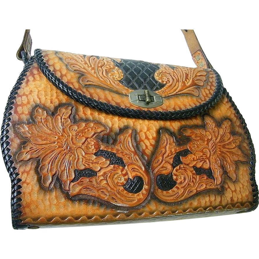 Designer Quality Tooled Leather Handbag..Floral / Leaves..Black Ground..Brown Design..Mid Century..Excellent Condition!