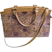 Large Tooled Natural Leather Handbag By Poppie Jones Barely Used..Excellent Condition!