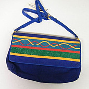 VIVA Blue Swede Handbag / Shoulder- Bag..Applique Stripe On Flap..Hangtag..NOS