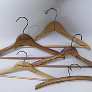 5 Assorted Advertising Wood Clothing Hangers...Sheraton Hotels-Hotel Lexington-Gramercy Inn-Clothiers