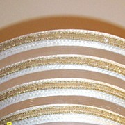 White Synthetic Straw Long Up-Turned Brim Hat With Alternating Rows Of Straw. Sheer Horse Hair, And Gold Sequin Trim