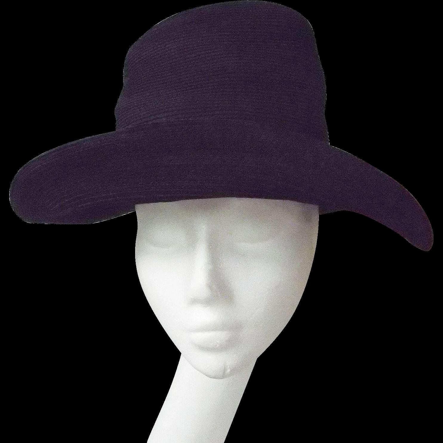 Patricia Underwood..Black Suede Corded High Crown..Wide Brim Bretton Hat