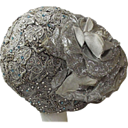 Custom Made Shaped Cloche Hat of Pale Gray Lace With Clear & Blue Rhinestones...Wool Felt Lined..Show Business Gal
