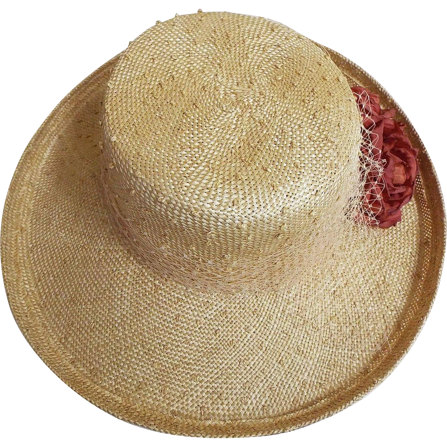Novelty Woven Pin Dotted Natural Straw Hat With Veil Band Bow And 2 Wine Flowers