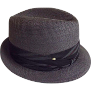 Men's Medium to Dark Gray Imported Genuine Hemp Fedora Hat..Narrow Brim..By Barcelona..Size 7 3/8