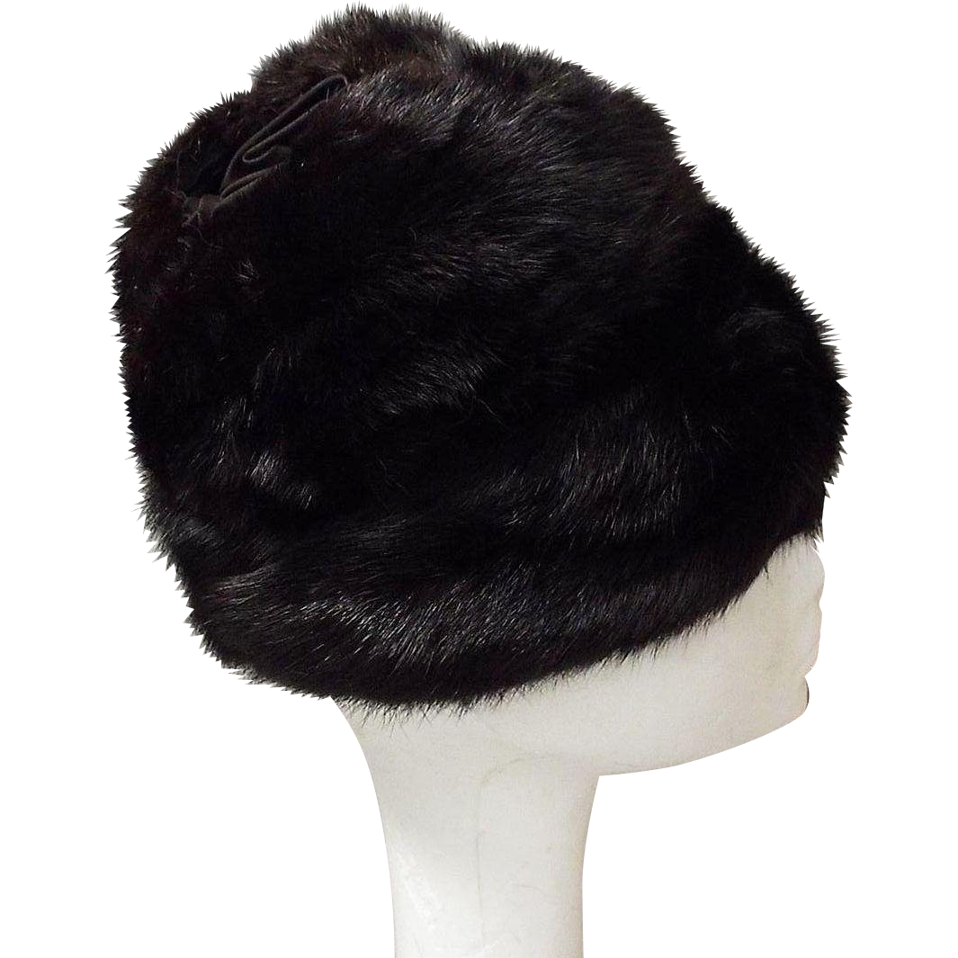 Black Mink Hat With Black Satin Circular Ruffle Insert On Top