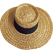 Eric Javits Natural Colored Woven Straw Hat With Double Black Grosgrain Ribbon Band