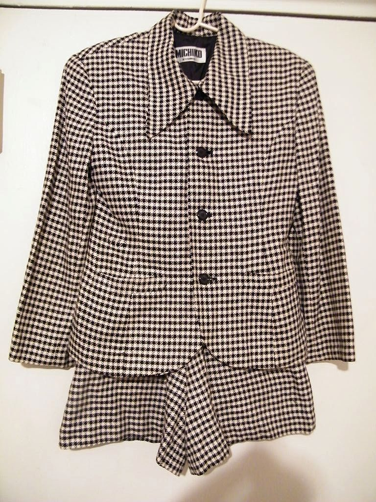 1960's / 70's HOT PANTS SUIT By Japanese Designer Michiko Kos..Black/White Woven Checks..Size Small
