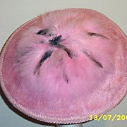 Pink Brushed Wool Felt Round Hat Topped With Pink Fluffy Feathers And Banded With Pink  Passementerie Trim