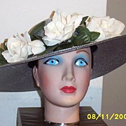 Silver Metallic Picture Hat With White Roses..NOS
