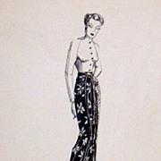 Original...Pen And Ink...Fashion Illustration...1930's/40's