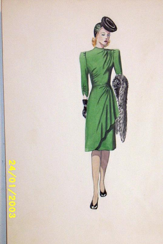 Original Color Fashion Illustration 1930 S 40 S