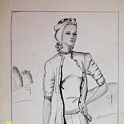 Original...Pen And Ink...Fashion Illustration...1930's - 40's