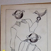 Original...Pen And Ink...Fashion Illustration...1930's...40's