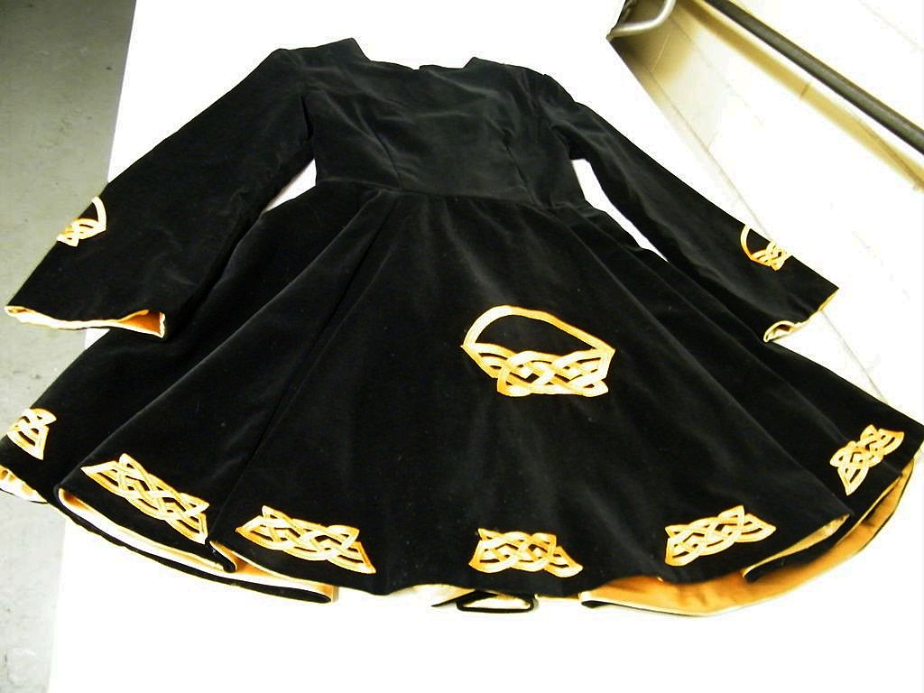1960's Irish Solo Dance Dress..Black Velveteen..Detachble Cape..Gold Celtic Embroidery...Girl's Size 14