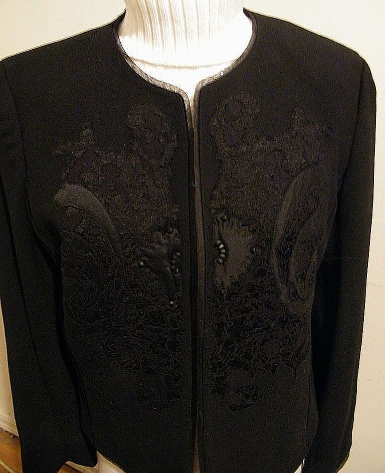 Formal Black Wool Crepe Short Jacket With Lace & Satin Appliques By Ellen Tracy..Size 14..Excellent Condition