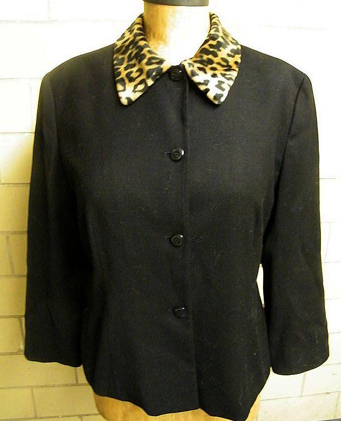 RENA ROWAN..Faux Leopard Fur Collar..Black Stretch Wool Crepe Jacket..Excellent Condition