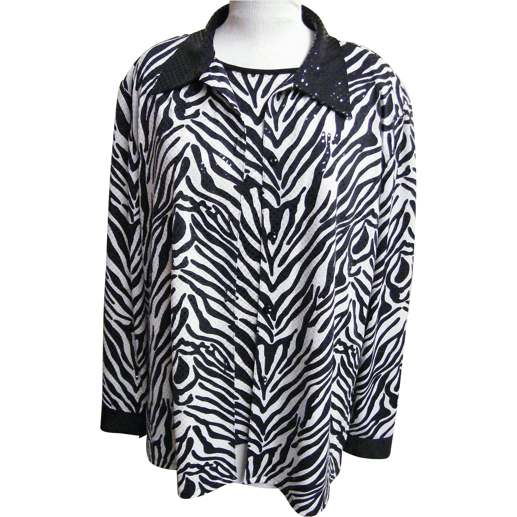 Jacket & Sleeveless Top Coordinate..Zebra Print..Sequins..Formal..Size X Large..Korea..Excellent Condition!
