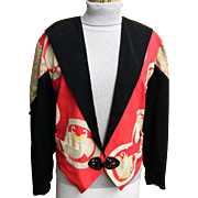 1980's Antique Silk Kimono Collage Tuxedo Jacket By Yvonne O'Gara Collections...Excellent Condition