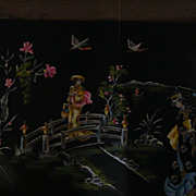 Japanese Scenic Painting..Signed..2 Women..Crossing Bridge..One Of 5