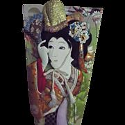 Large Japanese Hagoita Geisha Paddle...Hand Pained Silk..Silk Brocade Collage..45 Years Old