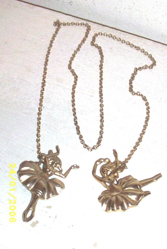 Vintage Ballerina Scatter, Shawl, Scarf or Sweater Pin..Gold-Tone Metal..Long Chain