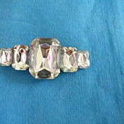 D&E Long & Chunky Bar Pin..Palest Aqua Lucite Stones..Excellent Condition.