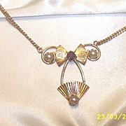 Vintage..Gold-Tone 2-Piece Set..With Faux Pearls & Amethyst Rhinestones..Angelique By Spataro