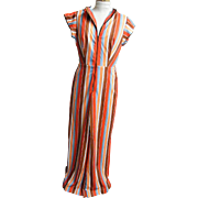 Jumpsuit With Palazzo Pants..Striped..Silky Interlock Knit..Open Back..Front Zipper & Belt. Size 9..1960's - 70's..USA
