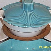 Lazy Susan Turquoise And White California Pottery 254