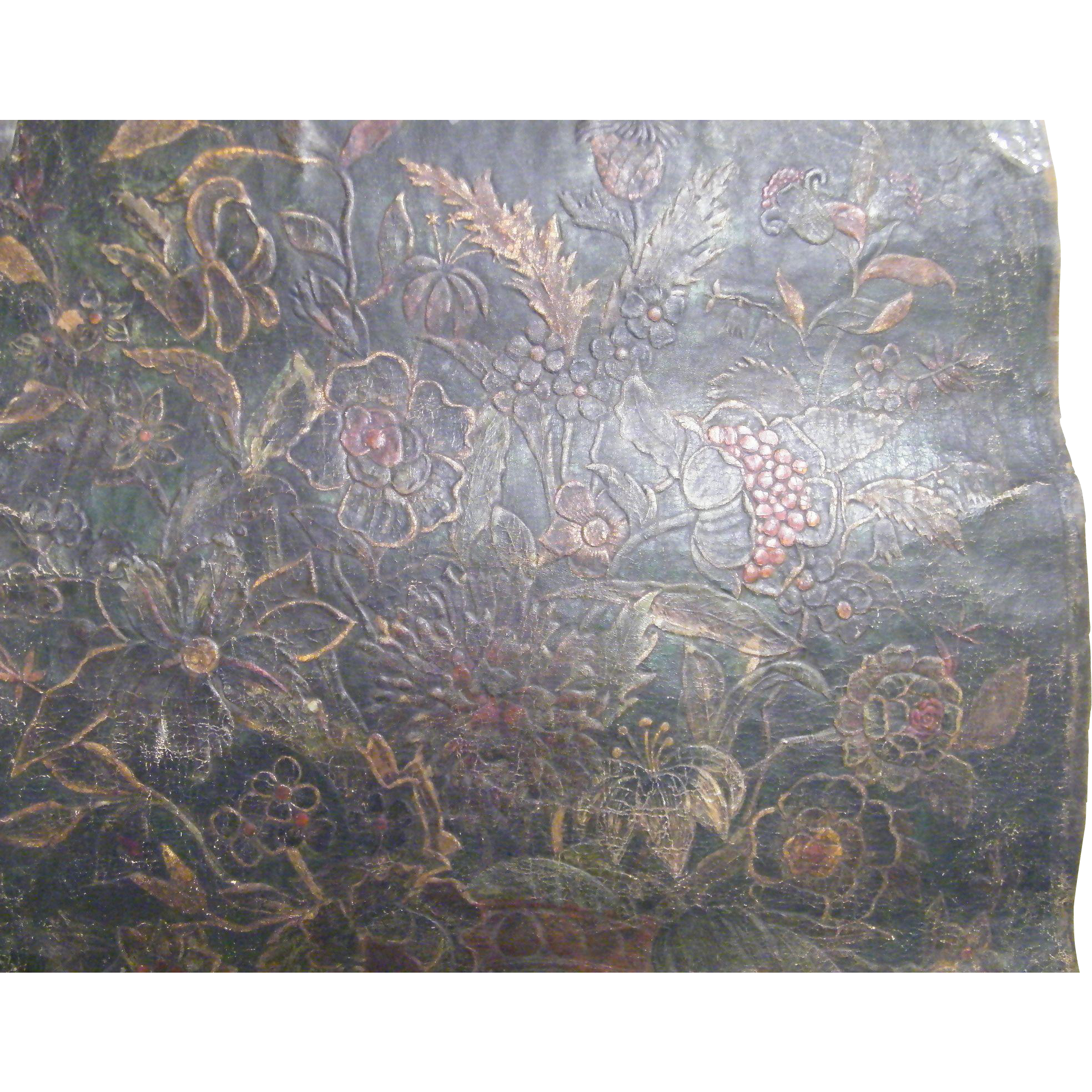 """Hand Tooled & Hand Painted Leather Panel Made In Spain..#20...31"""" Tall & 26.5"""" Wide"""