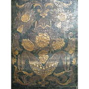 "Hand Tooled Leather Panel Made in Spain..Dark Green Ground..Very Vintage..29"" Tall x 22.5"" Wide"