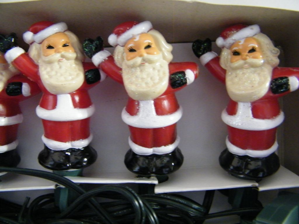 Vintage SANTA Christmas Tree Light Covers..2  Sets Of 5 Santa's..Hand Painted..Hollow Hard Plastic..Japan..Excellent Condition