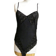 Black Stretch Lace, Matalisse, & Cotton Knit Teddy By Cine Star....NWT..Alexander's Dept. Store..Size Large
