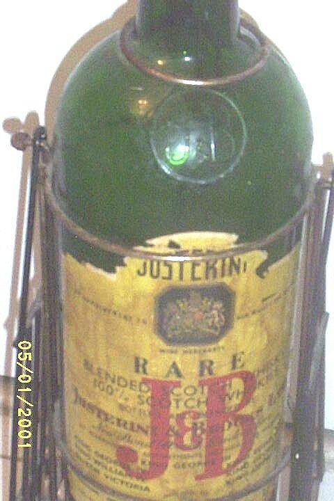 Vintage...J&B Giant Glass Scotch Whiskey Bottle.. BAR ...