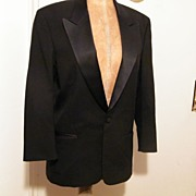 Vintage Mens Black Wool Tuxedo Jacket...LORD WEST, NY..Jeffrey Morton