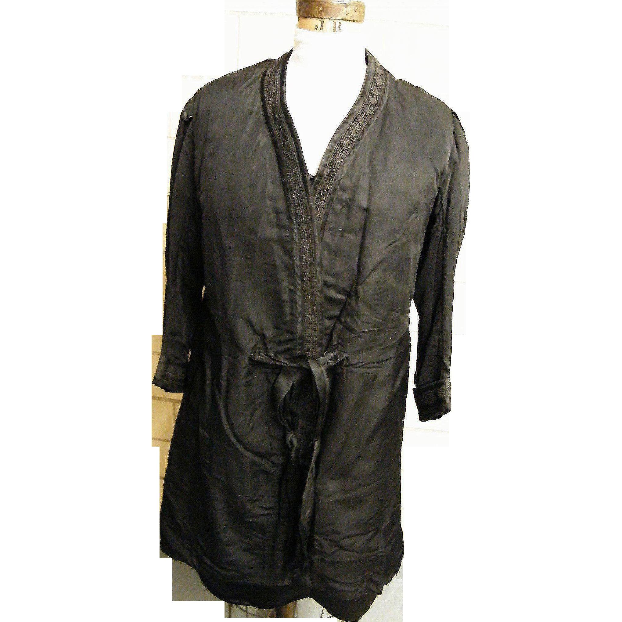 Men's Edwardian Coat..Black Silk ..Passementerie Trim..Front Sash..Antique