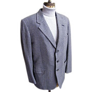 Men's 100% Cashmere Sports Jacket In Gray / Blue / Navy Check By Hickey Freeman Customized Clothes Label