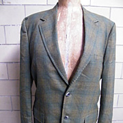 1960's..Men's Iridescent Wool Shadow Plaid Sports Jacket..Coat..Rockingham For Belk Tyler Square Shop