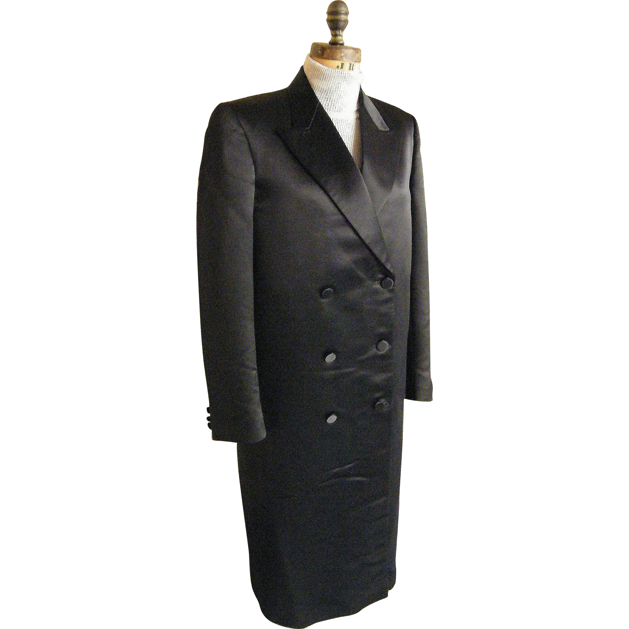 Men's Black Satin Long Opera Coat...Tuxedo Coat...Double Breasted...By G&G Quality Clothing..Size 36L..Excellent Condition!