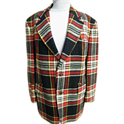 Men's Blanket Tartan Plaid Wool Sports Jacket / Coat..Great Weight For Out-Doors..Shapiro's Spring Valley...1960's-70's..Excellent Condition