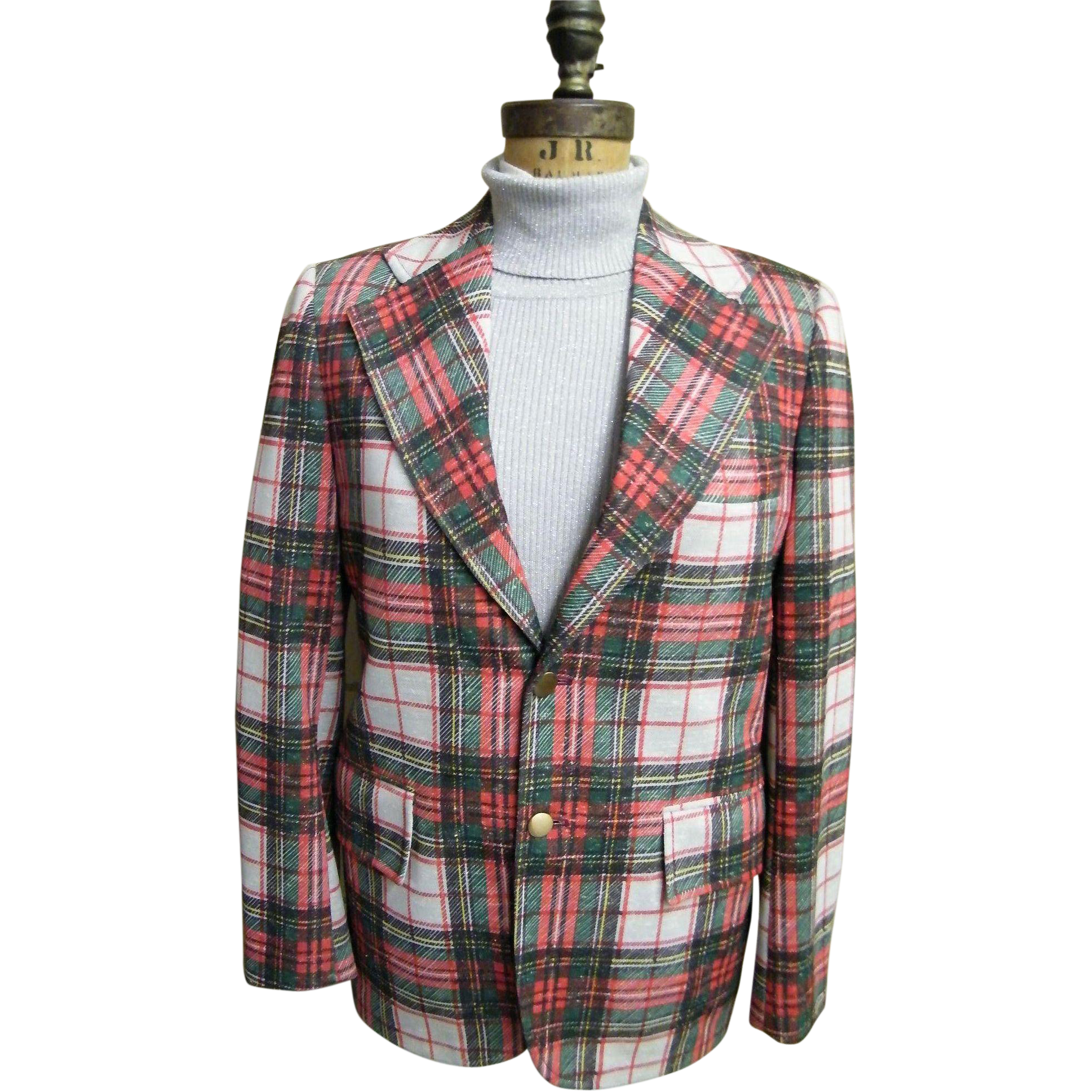 Men's Tartan Plaid Polyester Double Knit Sports Coat / Jacket..1960's - 70's..Excellent Condition!