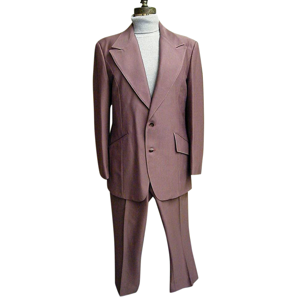 Men's Polyester Textured Knit Suit In Muted Clay..Printed Paisley Lining..Over-Stitched Jacket..Western Style Slacks