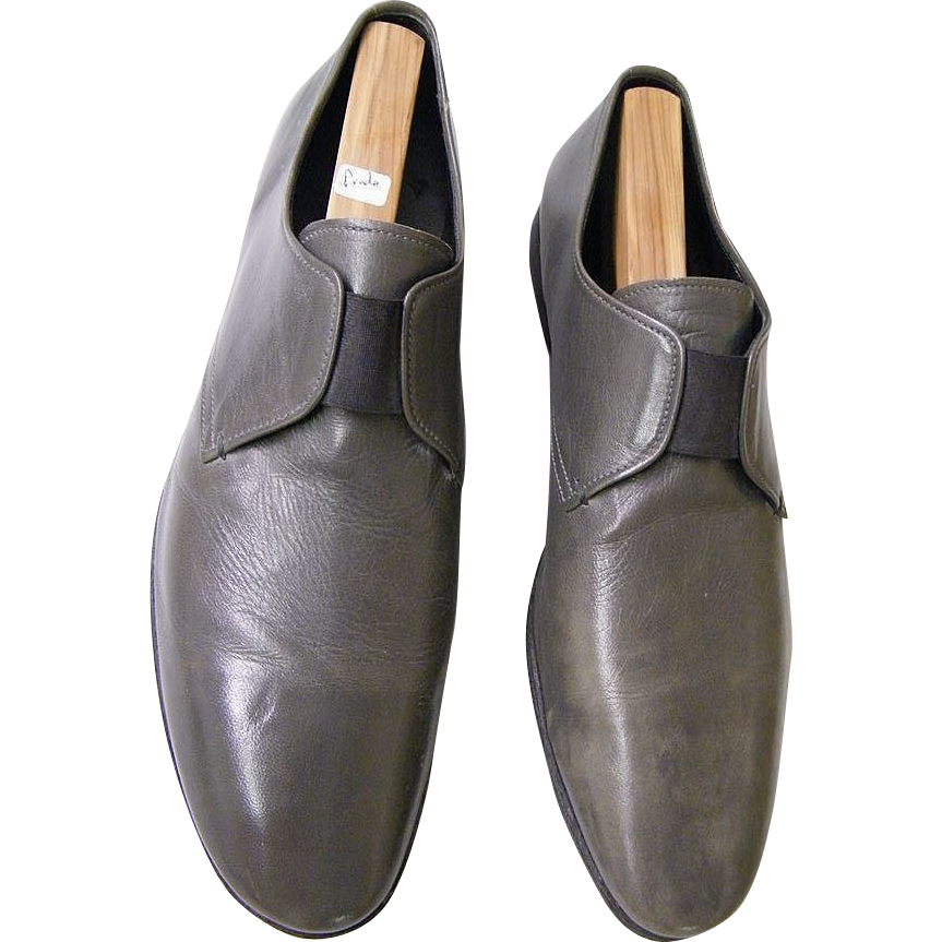 Prada...Men's Shoes..1970's..Made In Italy...Medium Gray Leather..Size 11 1/2..