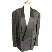 Men's Smoking Jacket / Tuxedo Jacket...Black Faille With Boomerange & Polka Dot Pattern Brocade...By Falcone..USA