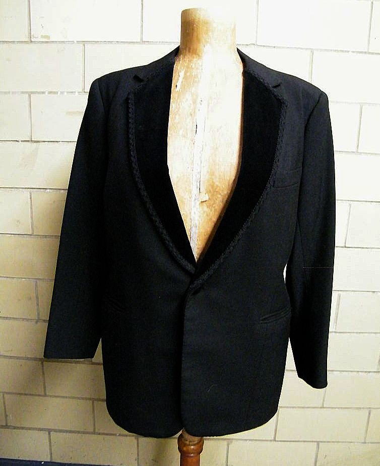Mid-Century Men's Black Wool Tuxedo With Velvet Notched Collar With Passementerie Trim..Pants Passementerie Leg Trim